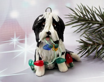 Bearded Collie Beardie Black Christmas Ornament Figurine Lights Porcelain