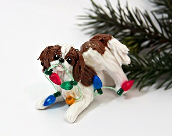 English Toy Spaniel King Charles Blenheim Porcelain Christmas Ornament Figurine