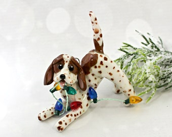 Redtick English Coonhound Porcelain Christmas Ornament Figurine