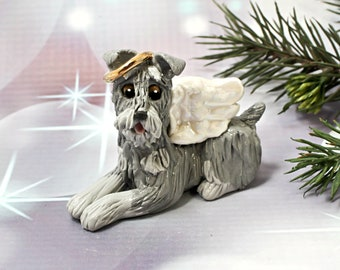 Schnauzer Angel Dog Christmas Ornament Figurine Porcelain