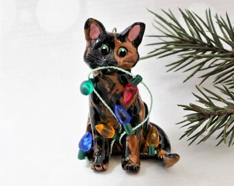 Tortoiseshell Cat PORCELAIN Christmas Ornament Figurine Lights Clay OOAK