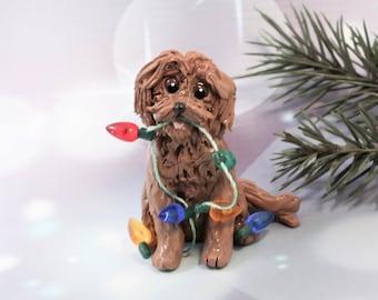 MaltiPoo Apricot PORCELAIN Christmas Ornament Figurine Lights OOAK