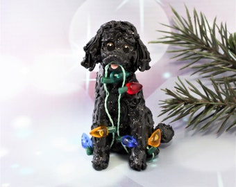 Poodle Black Porcelain Christmas Ornament Figurine Handmade