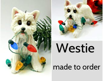 West Highland White Terrier Westie PORCELAIN Christmas Ornament Figurine Made to Order