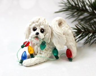 Bichon Frise Dog Porcelain Christmas Ornament Figurine with Lights
