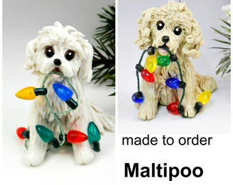 Maltipoo Dog Made to Order Christmas Ornament Figurine in Porcelain