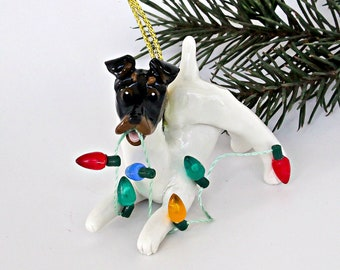 Smooth Fox Terrier Tricolor Porcelain Christmas Ornament Figurine Lights