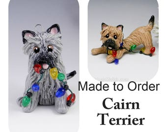 Cairn Terrier Dog Made to Order Christmas Ornament Figurine in Porcelain