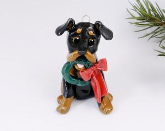 Rottweiler Christmas Ornament Figurine Wreath Handmade Porcelain