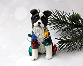 Australian Shepherd Tricolor Porcelain Christmas Ornament Figurine Lights