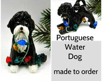 Portuguese Water Dog PORCELAIN Christmas Ornament Figurine Made to Order