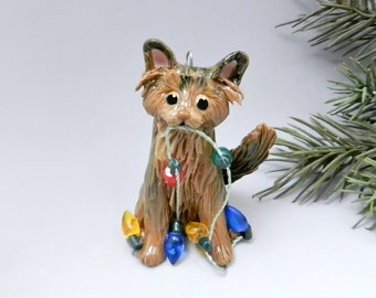 Somali Abyssinian Cat Christmas Ornament Figurine Porcelain Clay Lights