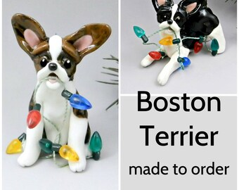 Boston Terrier Dog Made to Order Christmas Ornament Figurine in Porcelain