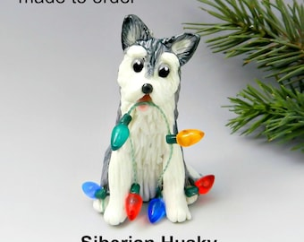 Siberian Husky Dog PORCELAIN Christmas Ornament Figurine Made to Order