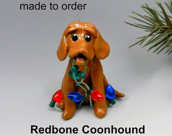 Redbone Coonhound Porcelain Christmas Ornament or Figurine Made to Order