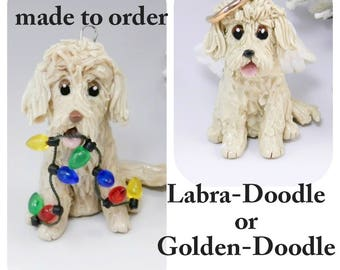 Goldendoodle Labradoodle Dog Made to Order Christmas Ornament Figurine Porcelain