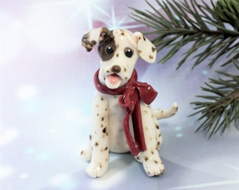 Dalmatian Liver PORCELAIN Christmas Ornament Figurine Red Bow