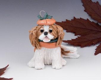 Cavalier King Charles Spaniel Ornament Pumpkin Porcelain Clearance