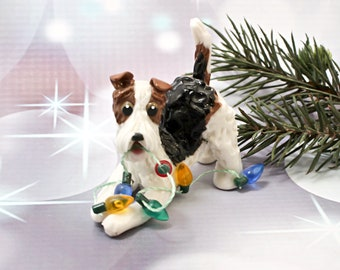 Wire Fox Terrier Dog PORCELAIN Christmas Ornament Figurine Lights