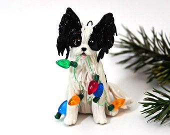 Papillon Black White PORCELAIN Christmas Ornament Figurine Lights