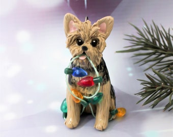 Yorkshire Terrier Yorkie Dog PORCELAIN Christmas Ornament Figurine Lights