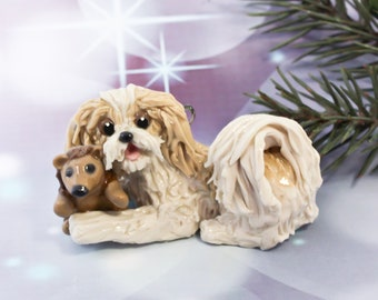 Shih Tzu Gold Cream Christmas Ornament Figurine Porcelain OOAK Toy Hedgehog