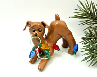 Red Minature Pinscher Doberman PORCELAIN Christmas Ornament Lights OOAK
