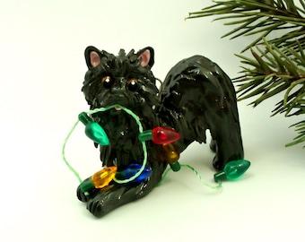 Schipperke Dog PORCELAIN Christmas Ornament Figurine Lights OOAK