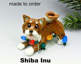 Shiba Inu Porcelain Christmas Ornament Figurine Made to Order