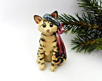Bengal Cat PORCELAIN Christmas Ornament Figurine OOAK with Wreath Bow