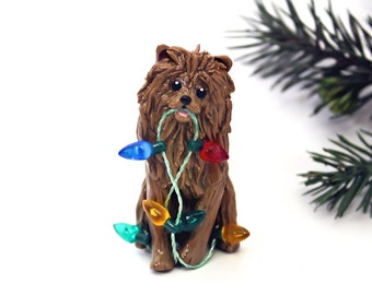 Pomeranian Red Porcelain Christmas Ornament Figurine Lights