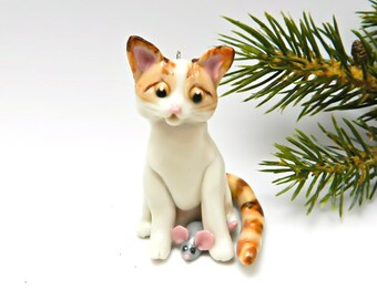 Orange Tabby Cat Porcelain Christmas Ornament Figurine Toy Mouse OOAK