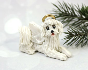 Angel MaltiPoo White Porcelain Christmas Ornament Figurine