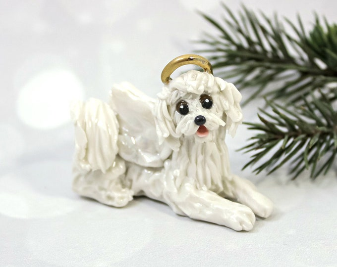 Featured listing image: Angel MaltiPoo White Porcelain Christmas Ornament Figurine