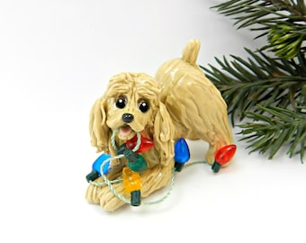 Cocker Spaniel Buff Porcelain Christmas Ornament Figurine with Lights