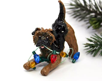 Border Terrier Dog Porcelain Christmas Ornament Figurine Lights