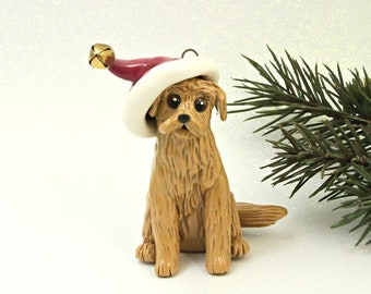 Golden Retriever PORCELAIN Christmas Ornament Figurine Santa Hat