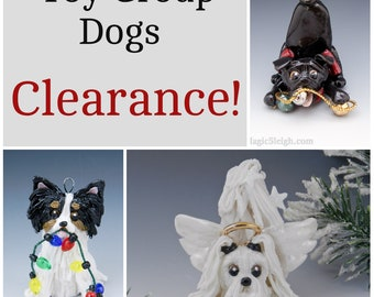 Toy Group Dogs Christmas Ornaments Figurine Porcelain Clearance