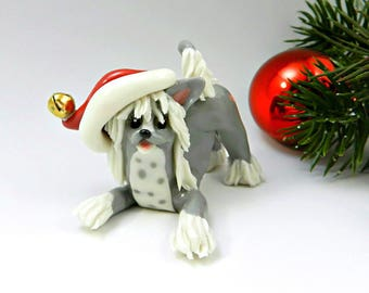 Chinese Crested PORCELAIN Christmas Ornament Figurine Santa Hat OOAK