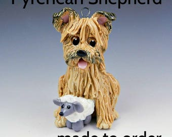 Pyrenean Shepherd Porcelain Christmas Ornament Figurine Made to Order