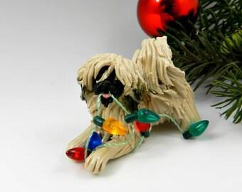 Pekingese  Porcelain Christmas Ornament Figurine Lights OOAK