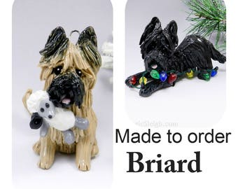 Briard Dog Made to Order Christmas Ornament Figurine in Porcelain