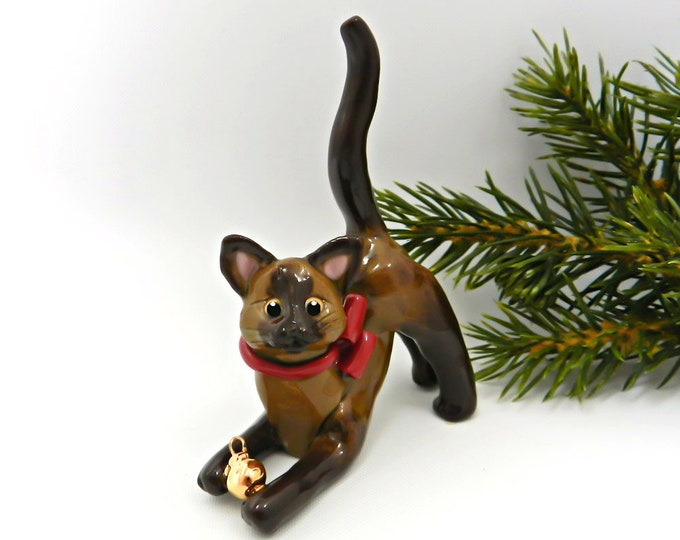 Featured listing image: Burmese Siamese Cat Porcelain Christmas Ornament Figurine Gold Ball