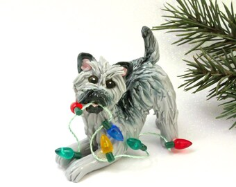 Cairn Terrier Gray Porcelain Christmas Ornament Figurine Lights