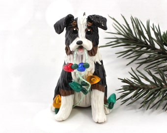 Australian Shepherd Tricolor Porcelain Christmas Ornament Figurine Lights