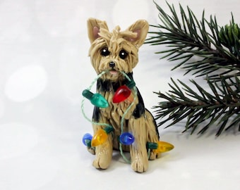 Yorkshire Terrier Yorkie PORCELAIN Christmas Ornament Figurine Lights