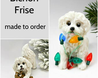 Bichon Frise Dog PORCELAIN Christmas Ornament Figurine Made to Order