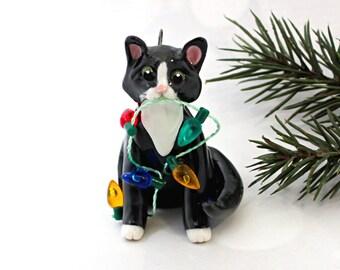 Cat Black White Tuxedo PORCELAIN Christmas Ornament Figurine Lights