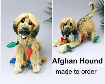 Afghan Hound Made to Order Christmas Ornament Figurine in Porcelain