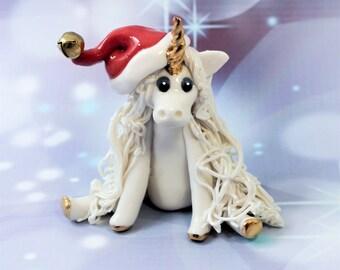 Unicorn PORCELAIN Christmas Ornament Figurine Santa Hat OOAK